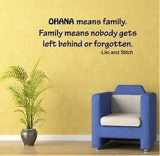 LILO AND STITCH OHANA FAMILY  QUOTE VINYL WALL DECAL STICKER HOME DECOR