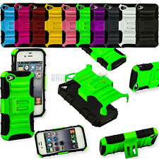 Color Silicone Rugged Heavy Duty Hard/Soft Kickstand Case For Apple iPhone 4 4S