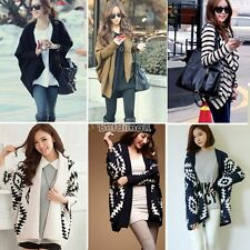 Stylish Oversize Womens Capes Knit Top Sweater Cardigan Outwear Jacket Coat BE0D