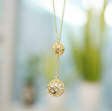 Fashion Women Gold Hollow Double Balls Pendant Adjustable Long Necklace