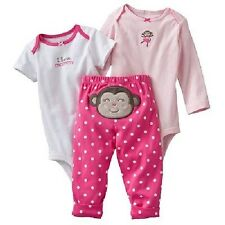 New Carter's 3 Piece Happy Monkey Girl Bodysuits Pant Set NWT NB 3 6 9 12 24m