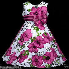 UsaG White Magenta Flower w577 Easter X'mas Party Girls Dress 3,4,5,6,7,8,9-13y