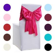 Satin Chair Cover Sash Bow Table Runners for Wedding Banquet Party Decoration