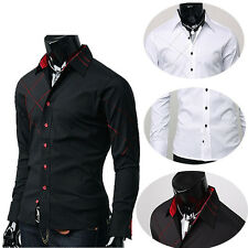 New Stylish Office Man Formal Casual Dress Shirts Long Sleeve Decent Trendy Tops