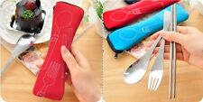 Camping Cutlery 3Pcs Set zipped holder Pinic Chopstick Spoon Fork Travel Kit UK