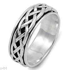 Men or Woman Unisex Infinity Crossover Celtic Spinner Sterling Silver Band Ring