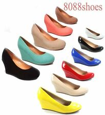 Women's Office Causal Cute Round Toe Wedge Platform  Heel Shoes Size 5 - 10 NEW