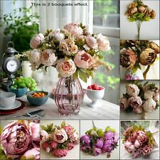 1 Bouch of 8 Artificial Silk Peony Rose Flowers Leaf Wedding Party Decors Posy