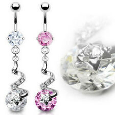 316L Surgical Steel Prong Set Belly Navel Ring Gem Star Swirl and 10mm CZ Dangle
