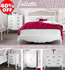 FRENCH Furniture, Stunning White bedside table, chest of drawers, wardrobe, bed