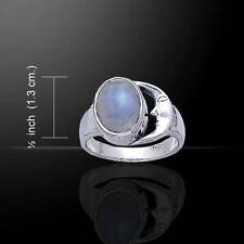 Blue Magic Moon Silver Ring / with Rainbow Moonstone - Size Selectable