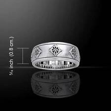 Irish Celtic Knotwork Quaternary Knot Band Ring - .925 Sterling Silver