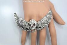 Crystal Large Skull Wings Bling Diva Ring - Gold or Silver