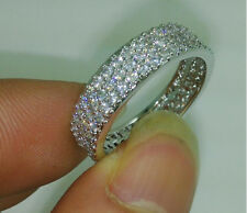 Size 6/7/8/9/10 jewelry Full White Topaz CZ 10kt white Gold Filled Women Ring