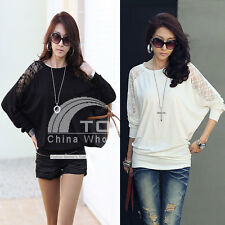 Black White Dolman Lace Long Sleeve Women's Batwing Tops Loose Blouse T-Shirt