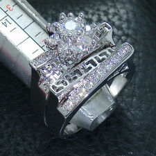 Size 6-10 jewelry 10kt white gold filled white topaz Gem Wedding women Ring set