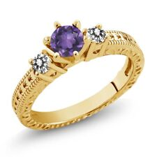 0.65 Ct Purple Amethyst White Diamond 18K Yellow Gold Plated Silver 3-Stone Ring