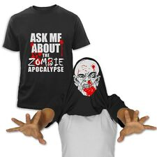 Ask Me About my Zombie Flip-Up T-Shirt Halloween Easy Costume Pull Over Head Tee
