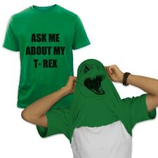 ASK ME ABOUT MY T-REX T-Shirt FLIP OVER HEAD Halloween Easy Costume Flipover Tee