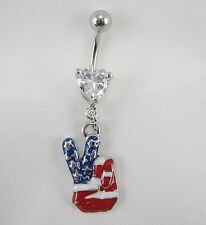 "USA PEACE SIGN  NAVEL RING BLING AMERICAN FLAG 14G 3/8""  BELLY BUTTON SIGN"