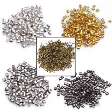 500/1000pcs Silver Plated/Golden/Dark Silver/Black Tube Crimp End Beads 1.5/2mm