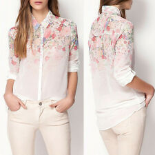New Fashion Women's Chiffon Floral Print Long Sleeve Casual Tops T shirt Blouse