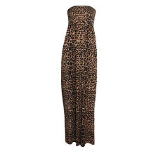 New Ladies Womens Animal Leopard Shirring Bandeau Maxi Dress Plus Sizes 8-26