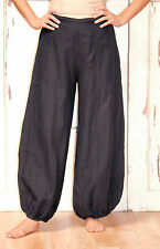 BRYN WALKER USA Flax Lightweight Linen BELL PANT Harem Pants  S M L XL  BLACK