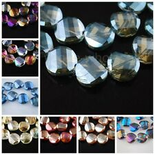 20pcs Glass Crystal Lampwork Jewelry Findings Tile Loose Faceted Beads 12X4X12mm
