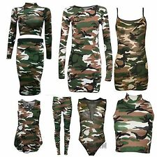 New Ladies Womens Camouflage Army Print Sleeveless Vest Top, Leggings Plus Size