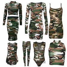 Ladies Women Camouflage Army Print Sleeveless Vest Top, Leggings Skirt Plus Size