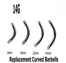 10 Spare Surgical Steel Curved Threaded Barbell Blanks Eyebrow Belly Bars 14g