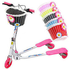 Retro Front Bicycle Bike Flower Basket Shopping Stabilizers Children Kids New T7
