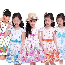 2014 baby girl clothing Summer floral printed big bowknow princess dress 4-8T