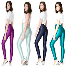 Womens High Waisted Footless Leggings Tights Shiny Disco Pants Candy Colors Cute
