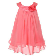 Graduation Pageant Double Layer Rosette Flower Girl Coral Chiffon Dress Formal