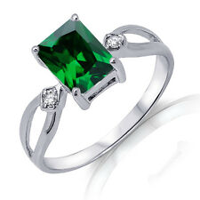Traditional Emerald Cut Emerald Green Genuine Sterling Silver Ring Size 3 - 12