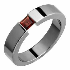 Titanium Ring Garnet Tension Set 5mm Wide Handmade Engagement Band for Him N Her