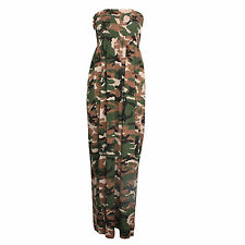 Ladies Womens Camouflage Army Shirring Bandeau Maxi Dress Plus Normal Sizes 8-22