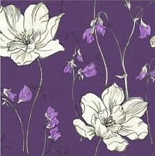 YASMIN FLORAL BLOSSOM FLOWER NATURAL PRINT LUXURY 10M WALLPAPER ROLL DECOR PURPL