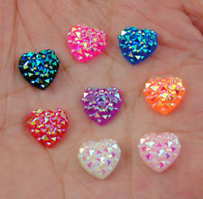 40PCS Resin Heart shaped AB Color Flat Back Bead Craft Decoration  Laptop DIY