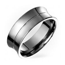 Mens Titanium Ring With Center Groove Promise Wedding Band Free Sizing 4 to 14