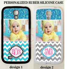 PERSONALIZED CUSTOM PHOTO BLUE CHEVRON CASE For Samsung Galaxy S8 S7 S6 NOTE 8 5