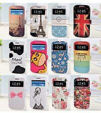 Luxury Cartoon Window View Wallet case cover for Samsung Galaxy S3 SIII i9300