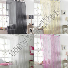 POPSICLE SPARKLE GLITTER VOILE CURTAIN PANEL TAB TOP NET BLACK WHITE PINK CREAM