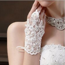New white Style Bridal Gloves Accessory Beaded Lace Sexy fingerless gloves