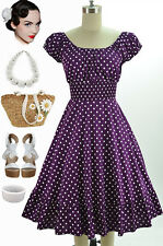50s Style Purple&White POLKA Dot PLUS SIZE Peasant Top On/Off The Shoulder Dress
