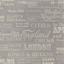 IDECO HOME VERY BRITISH RETRO TYPOGRAPHY LETTERING WORDS WALLPAPER POB-011-01-4