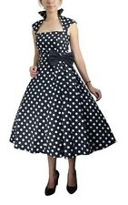BLACK WHITE POLKA DOT BELTED PLEAT DRESS WITH BOW RETRO VINTAGE 50s STYLE PINUP