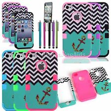 Hybrid ShockProof Protector Impact Rubber Hard Case Cover For iPhone 4s 4G 4